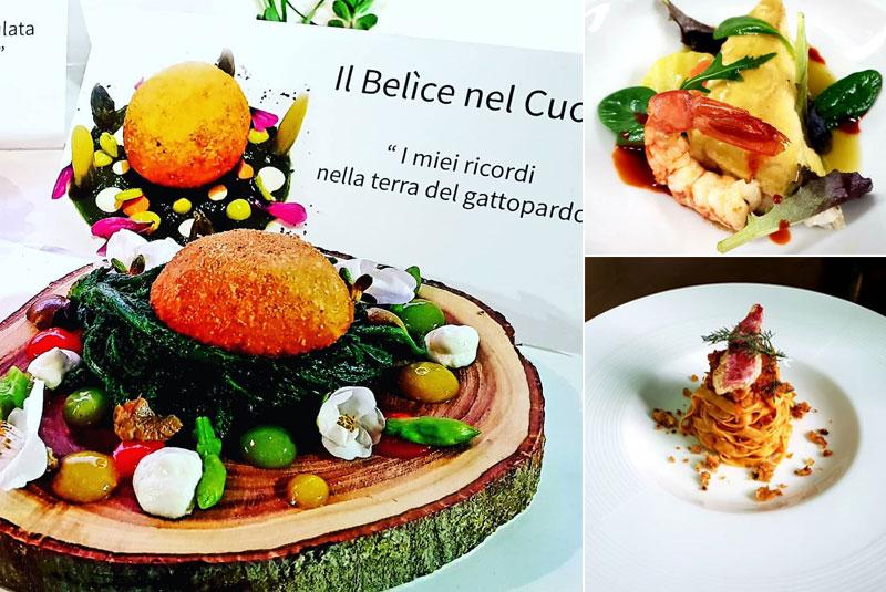 Piatti di alta cucina siciliana dallo cheff Francesco Mauceri- Ristorante Opuntia